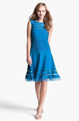 TADASHI SHOJI Sleeveless Mesh Stripe Jersey SKY Dress XLARGE #4 NWT AUCTION