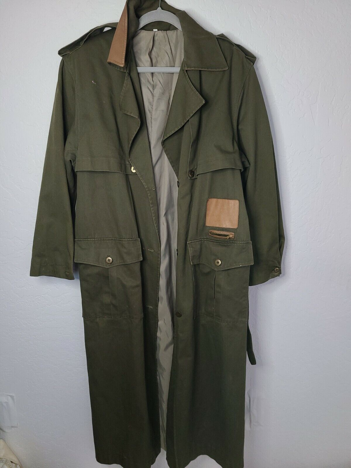 Classic Military Style Trench Coat, Olive Army Gr… - image 1