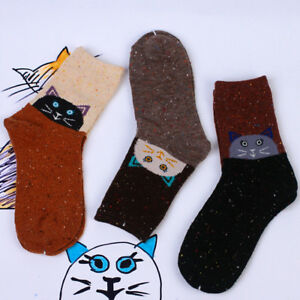 Women-Warm-Socks-Trendy-Cat-Animal-Print-Soft-Wool-Casual-Socks