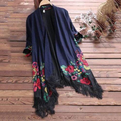 Sun Women Ethnic Floral Tassel Cardigan Coat Ladies Casual Loose Jacket Outwear