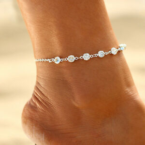 Gold-Silver-Ankle-Bracelet-Women-Anklet-Adjustable-Chain-Foot-Beach-Jewelry
