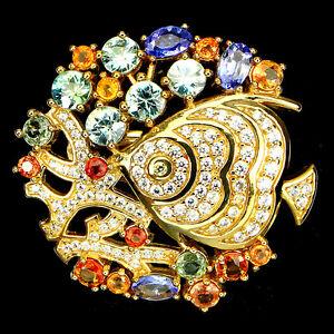 925-Sterling-Silber-Ring-Echter-Sea-Foam-Kambodscha-Zirkon-Saphir-Tansanit-amp-CZ