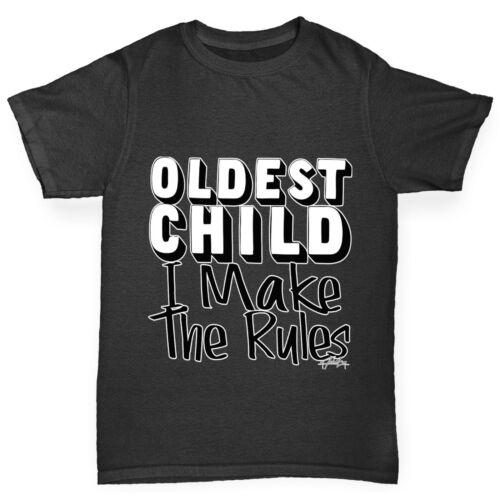 Twisted Envy Boy/'s oldest Enfant I make the rules Drôle T-shirt en coton