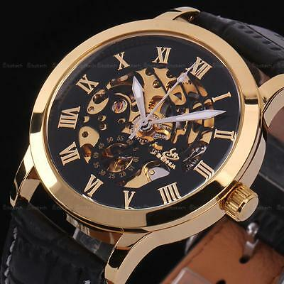 New Men Skeleton Wrist Watch Automatic Mechanical Luxury Stainless Steel Sport