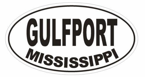 Gulfport Mississippi Oval Bumper Sticker or Helmet Sticker D1485 Euro Oval