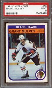 1982-83 o-pee-chee #69 GRANT MULVEY chicago black hawks PSA 9