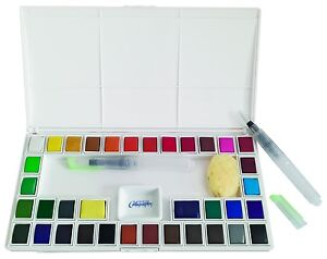 36 Assorted Water Colors Travel Pocket Set- Free Refillable Water Brush etc