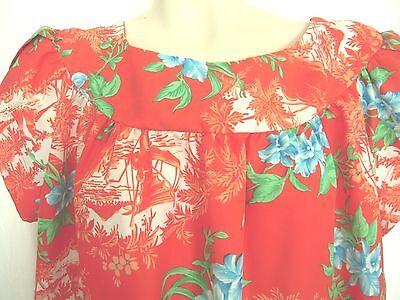 Vintage Muu Muu Sz 18 Made in Hawaii Polyester Red Muumuu Petal Sleeve