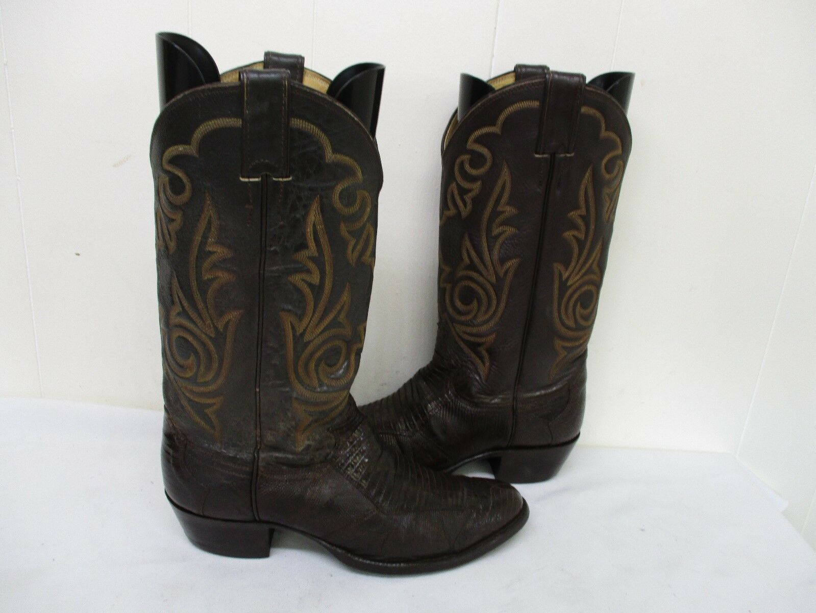 Justin Brown Lizard Leather Cowboy Boots Mens Size 8 D Style 8387 USA