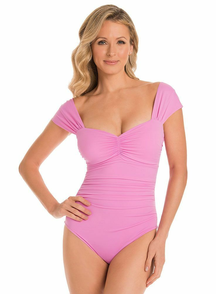 NEW Orig  162 Miraclesuit Magicsuit Swimsuit 8 Pink Natalie Slimming One Piece