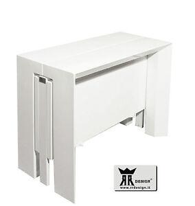 Tavolo Shining Allungabile Laccato Lucido.Dettagli Su Tavolo Consolle Laccato Bianco Lucido Console Allungabile 230 Cm Rr Design Giada
