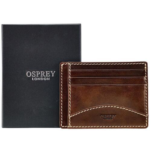 Da Uomo porta carte di credito in pelle da Osprey London Brody in Tan Marrone scatola regalo inc
