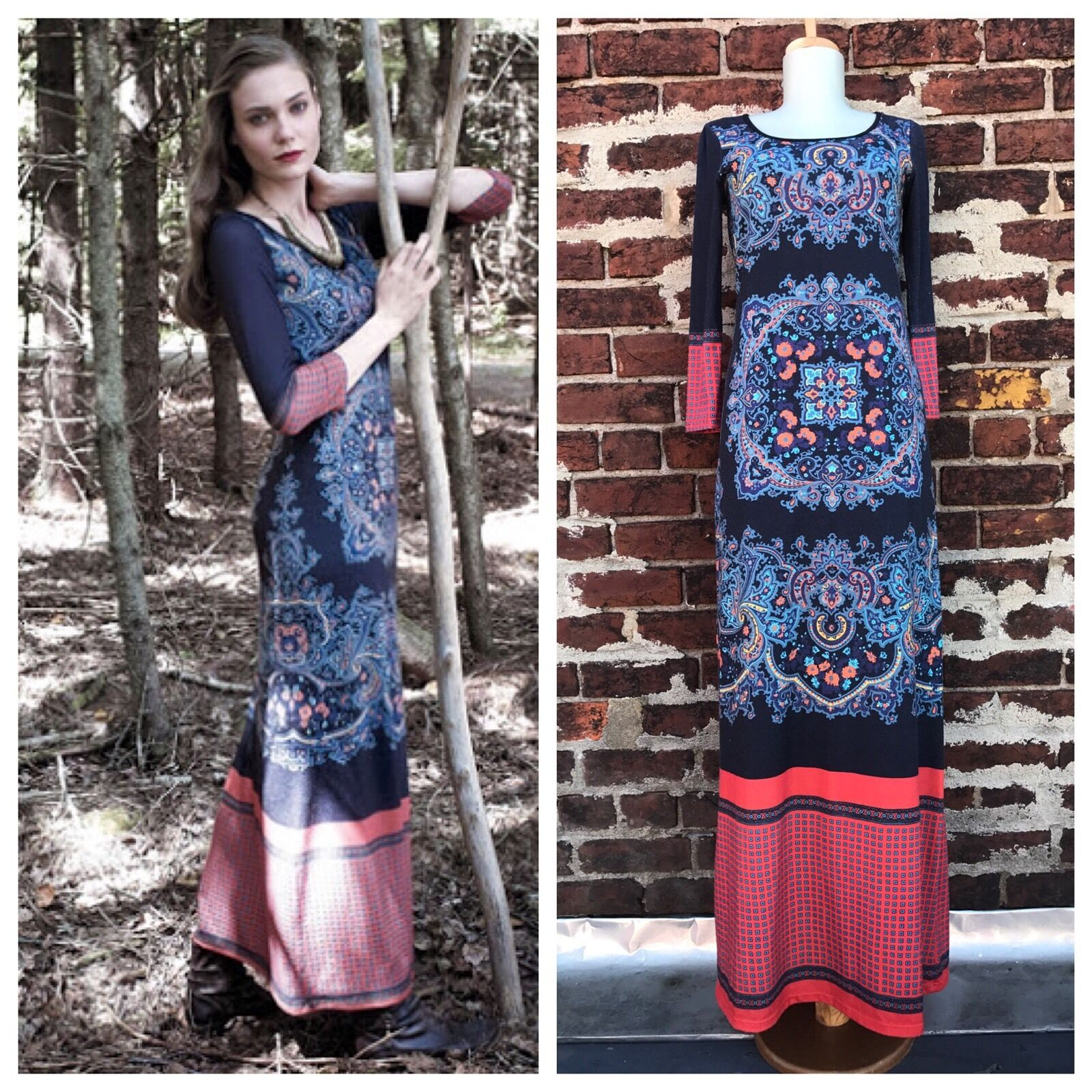 Anthropologie XS Rare Dream Daily Long Jersey Knit Fractal Medallion Maxi Dress