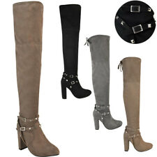 3ecc6419b55 item 3 Womens Ladies Thigh High Boots Studded Strap Over The Knee Party Block  Heel Size -Womens Ladies Thigh High Boots Studded Strap Over The Knee Party  ...