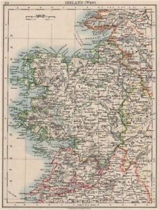 Map Of The West Of Ireland.Details About Connacht Connaught Galway Mayo Sligo Leitrim West Ireland Johnston 1900 Map