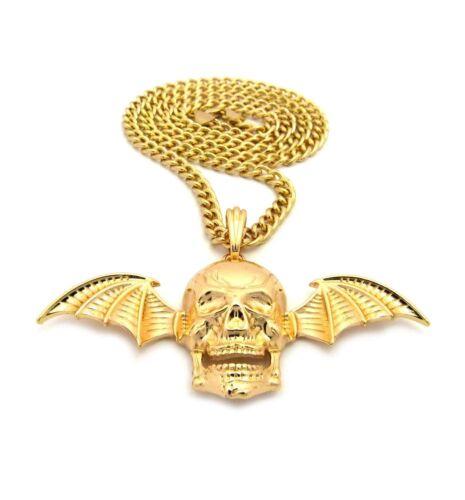 """Hip Hop GOLD PT Avenged Sevenfold Crâne Aile Pendentif 24/"""" Cubain Chaîne Collier"""