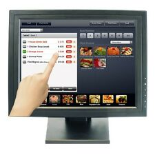 """15"""" inch TFT VGA Touch Screen LCD Monitor POS Stand Restaurant Pub Kiosk Retail"""