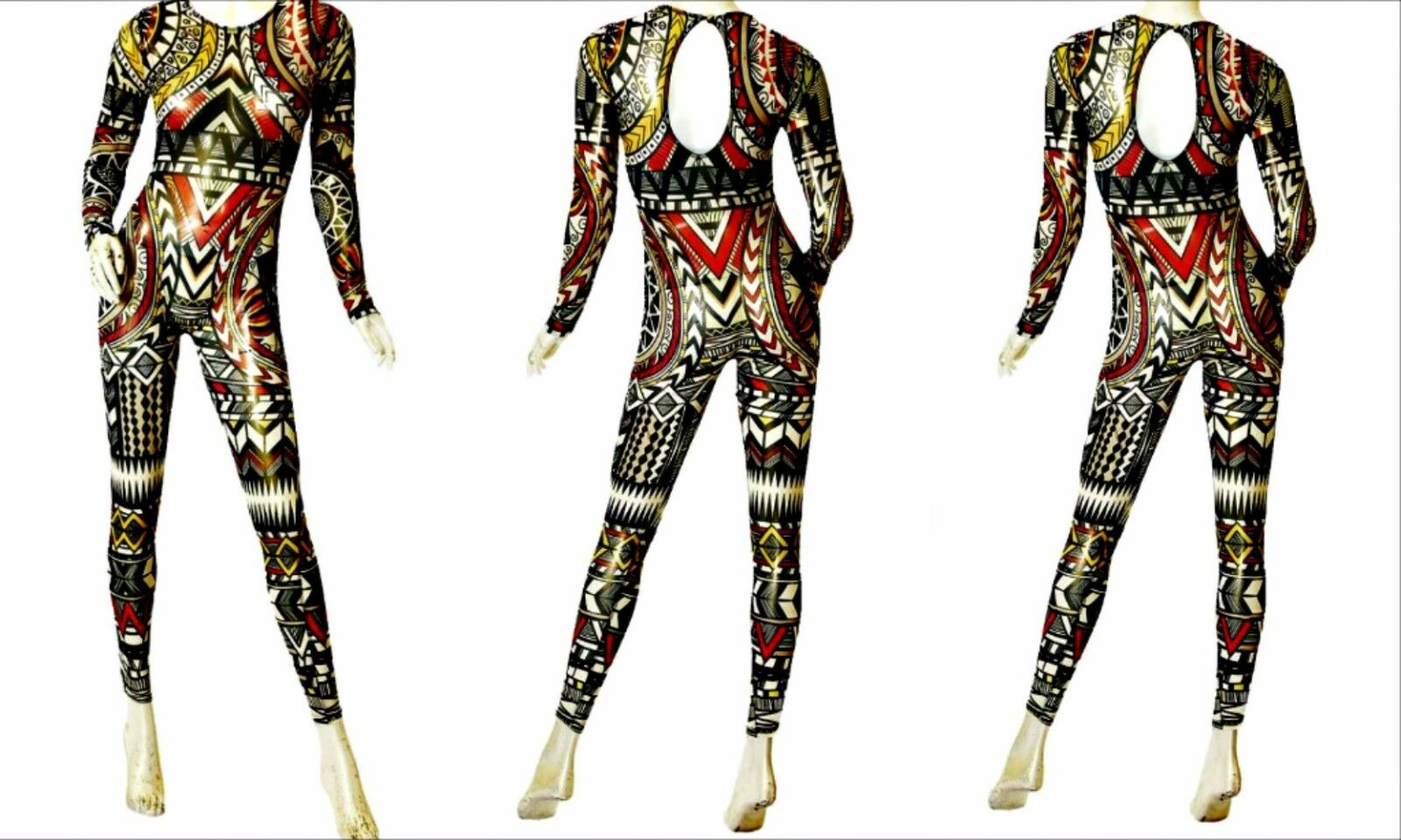 Celebrity Sexy J Lo Sheer see through multicolor Tribal print Jumpsuit Playsuit