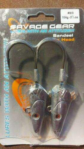 SAVAGE GEAR SANDEEL JIG HEADS FOR CANNIBAL SANDEEL SLUGS #8//0 104g 3 2//3oz
