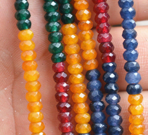 Natural 2x4mm Faceted Multicolor Apatite Gemstone Rondelle Loose Beads 15/'/'