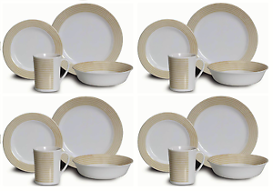 16pc Gold Melamine Dinner Set Plates Bowls Mugs BBQ Party Camping Fishing Picnic