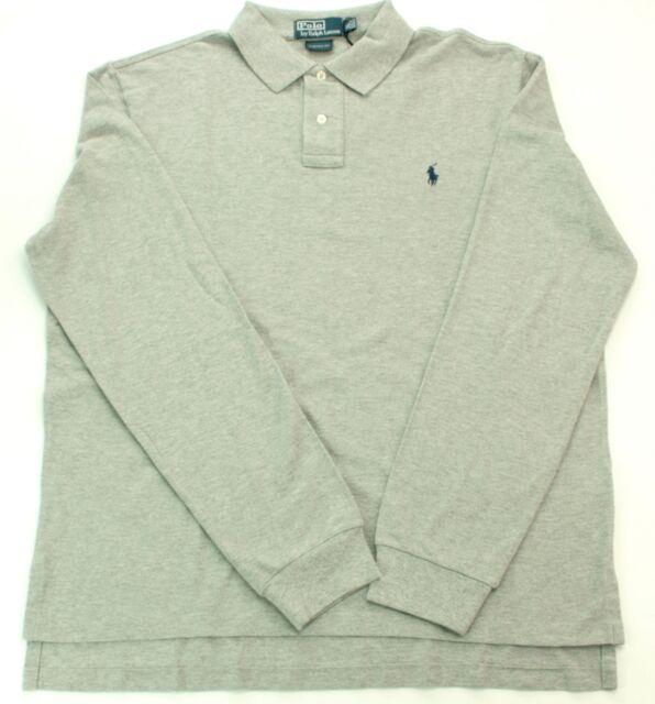 9199c344 Ralph Lauren Mens Grey Polo Rugby Shirt Long Sleeve Custom Fit XL RRP £115