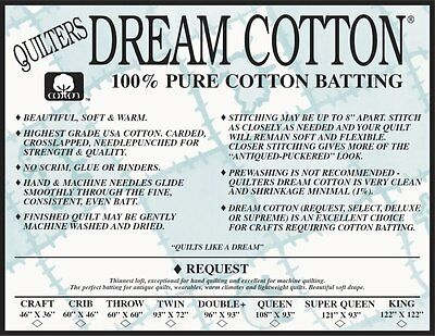 Quilters Dream Cotton Natural Select Loft Baby Bolt Crafting Quilt Batting