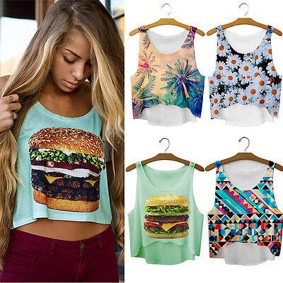 Women Girls Summer Vest Tank Tops Digital 3D Print Emoji Blouse T Shirt EF US F1