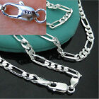 925 Sterling Silver 16-30inch 4MM Chain Fashion Men Women Figaro Necklace New
