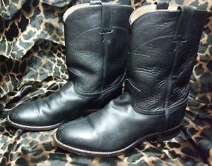 82564188985 Details about Justin 3133 Men's Size 9 EE Black Kipskin Roper Boots Leather  10 Inch