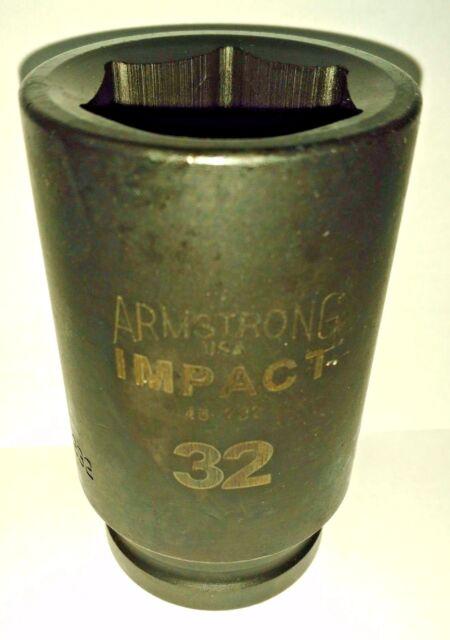 "Armstrong 48-232 3/4"" Drive 6 Point 32MM Deep Impact Socket USA"