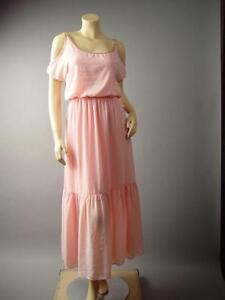 Blush-Pink-Ballet-Style-Romantic-Flounce-Ruffle-Hem-Long-Maxi-139-df-Dress-M-L