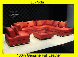 Peachy Details About New Large Red 100 Full Italian Leather Corner Sofa Settee Suite Top Quality Home Interior And Landscaping Mentranervesignezvosmurscom