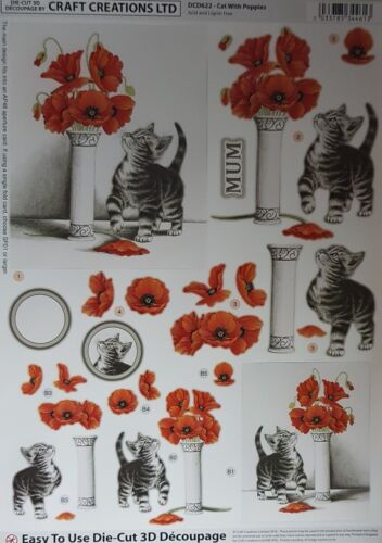 3D A4 Die Cut Paper Tole Decoupage Birthday Cake Easter Wedding Cats Poppies