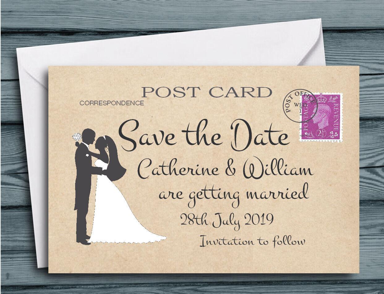 Save the date cartes romantique silhouette couple carte postale avec enveloppes
