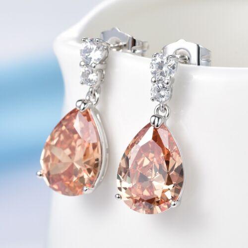 Luxury 18k White Gold Filled Yellow Pear Zirconia CZ Women Drop Dangle Earrings