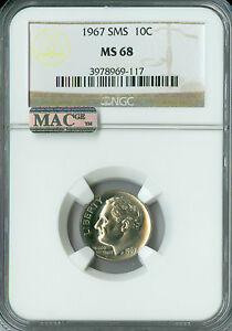 1967 ROOSEVELT DIME NGC MAC MS68 FT SMS 2ND FINEST REGISTRY RARE SPOTLESS*
