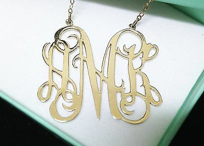 14K Gold-Plated Personalized Initial Monogram Name Necklace