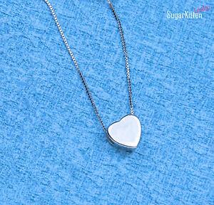 Plata-de-Ley-925-Precioso-Diminuto-3D-Corazon-Amor-Charm-Colgante-Cadena-45-7cm