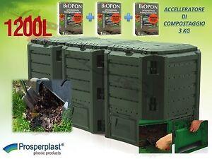 Compostiera compost 1200lt da giardino in plastica verde for Compostiera da giardino
