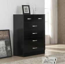 Gladini High Gloss 6 Drawer Chest Of Drawers 4 2 Black For Sale