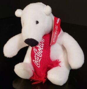 "2016 COCA-COLA BRAND plush POLAR BEAR with RED KNIT SCARF Coke Christmas 3-4/"""