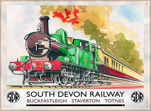 South Devon Railway England Vintage Great Britain Travel Poster Print