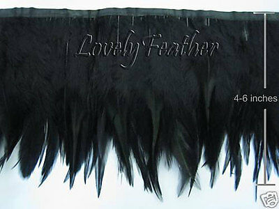 Hackle feather fringe of black color 50 metre ribbon trim