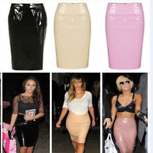 Ladies-Celeb-Shiny-PVC-Wetlook-Womens-Bodycon-Vinyl-Pencil-Midi-Party-Skirt-LM