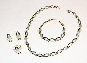 100% QualitäT Schmuck Set Collier-ohrringe-armband-ring Vergoldet Neu