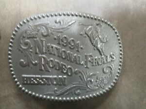 1991 Silver Plated National Rodeo Hesston Belt Buckle Limited Edition