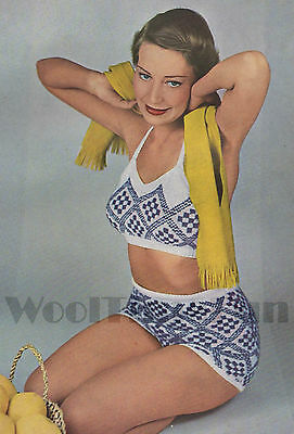 Vintage Knitting Pattern Lady/'s 1950s Halter Neck Bikini Top /& Shorts.