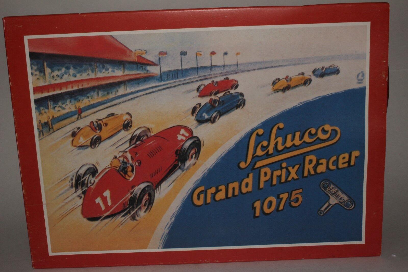Schuco repliken 1070   1075 grand - prix - racer mit box - gelb