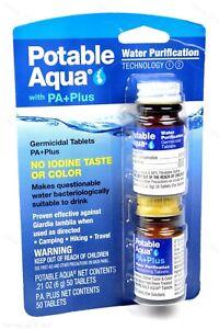 Potable-Aqua-yodo-Germicida-purificacion-de-agua-con-Pa-Plus-50-comprimidos-de-cada